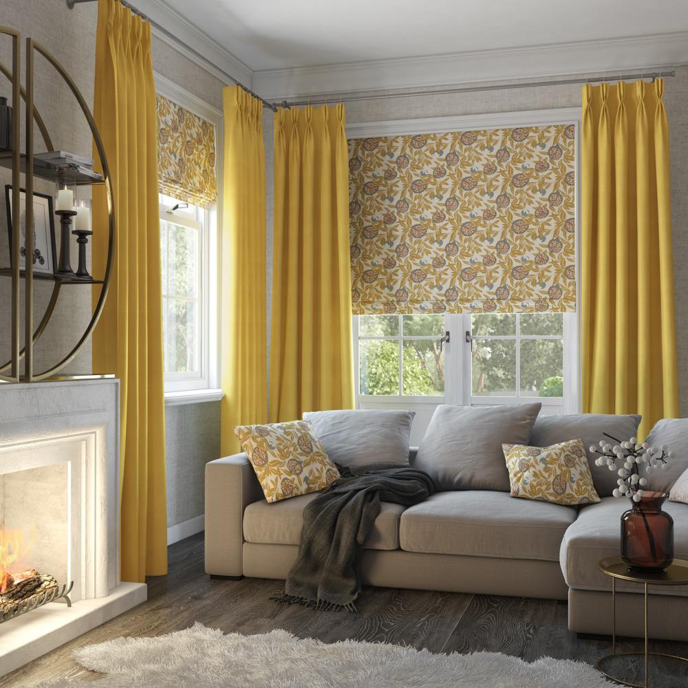 Cardi Ochre Roman Gemini Sunshine Curtain Style Studio