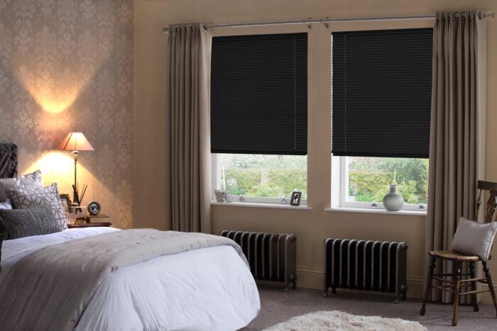 Style Studio Matte Black Venetian Blind in traditional bedroom